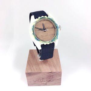 Accessories - Wooden Watch Brooklyn Design, Fabric Watchband.